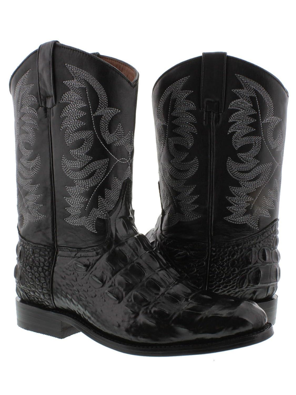2536b587efc2 El Presidente - Men s Black Crocodile Back Cut Leather Western Cowboy Boots  Roper low-cost