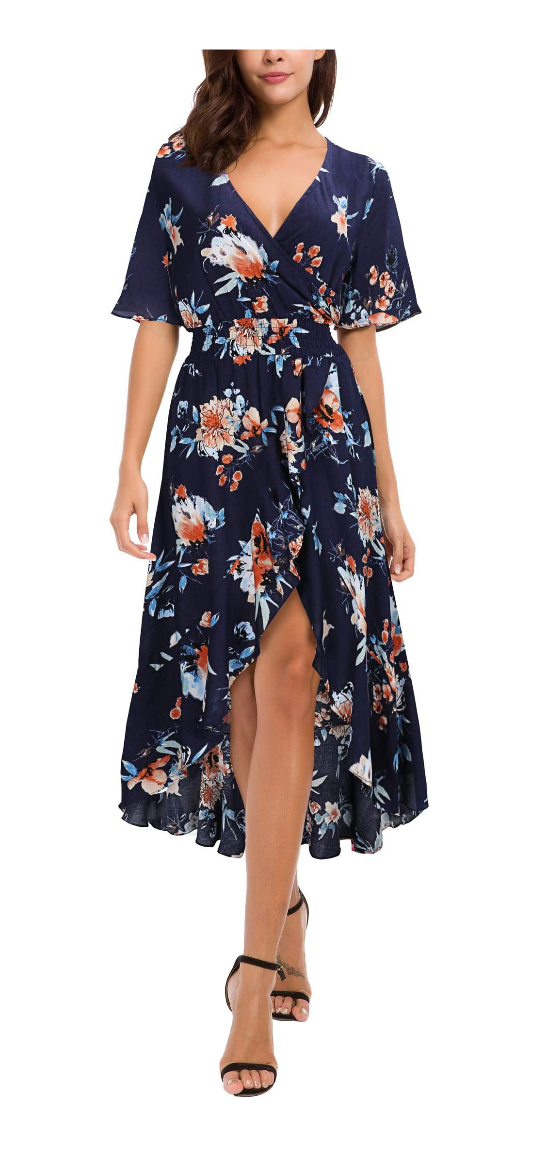 Womens Short Sleeve Floral High Low V-neck Flowy Party