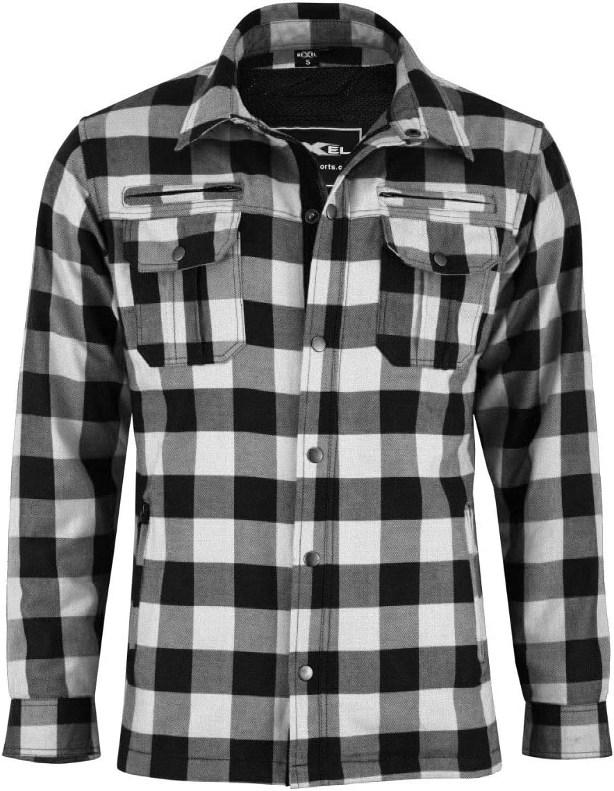 Vaster Lumberjack Reinforced Motorcycle Motorbike Check Shirt CE Armoured shirt for Men Boys Removable Protections 4-Colors 4XL, White and Black