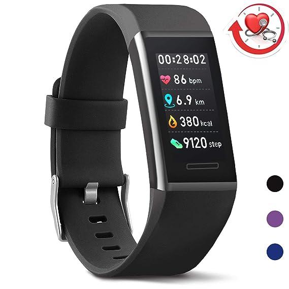 MorePro Fitness Armband mit Pulsmesser, Fitness Tracker Wasserdicht IP67 Aktivitätstracker Pulsuhren Smartwatch Schrittzähler