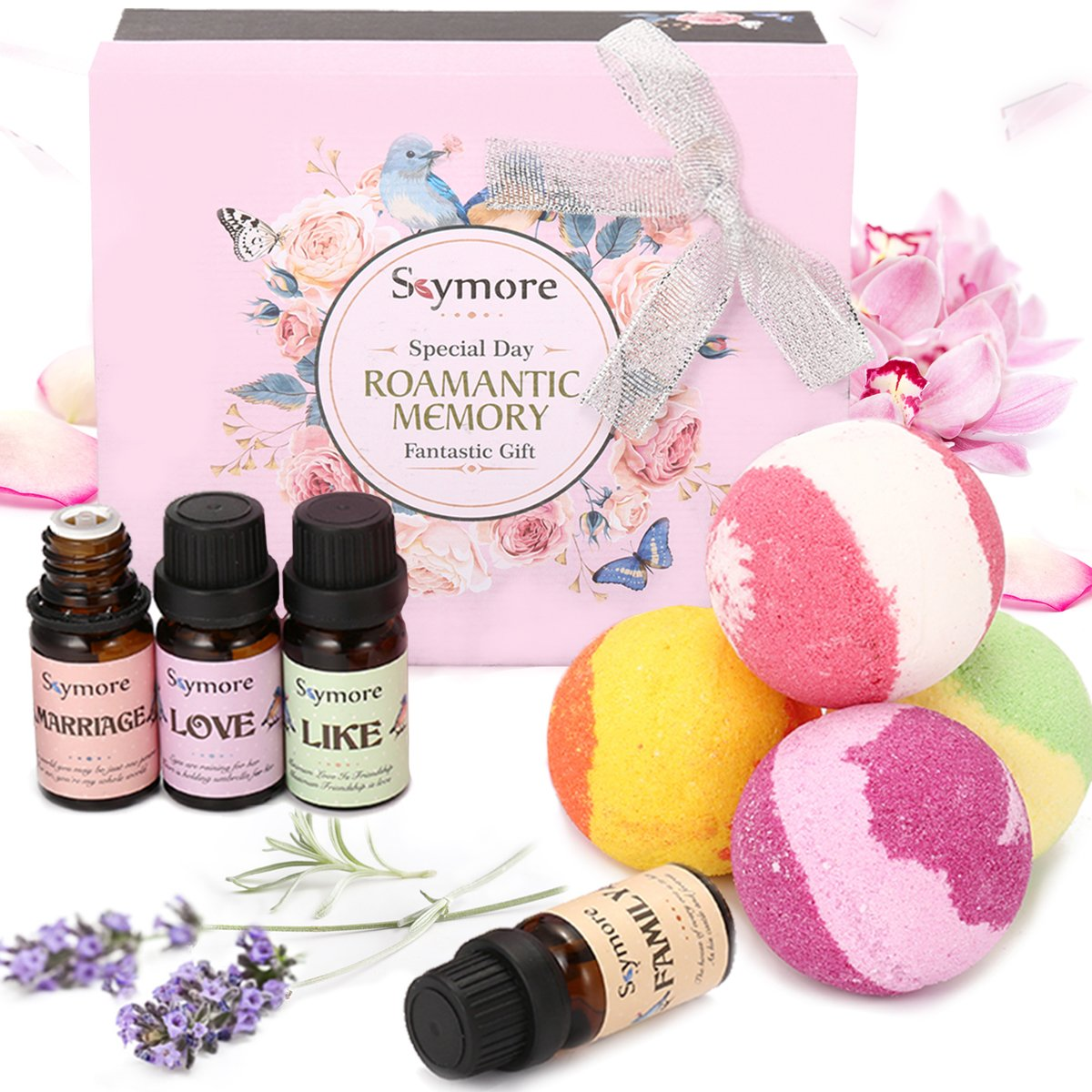 8 pcs Essential Oil with Bath Bombs Gift Set, JOSEKO Handmade Natural Soap Bath Bomb Foam Spa Kit for Women Mother Beauty Aromatherapy 4 x 10ml+4 x 100g