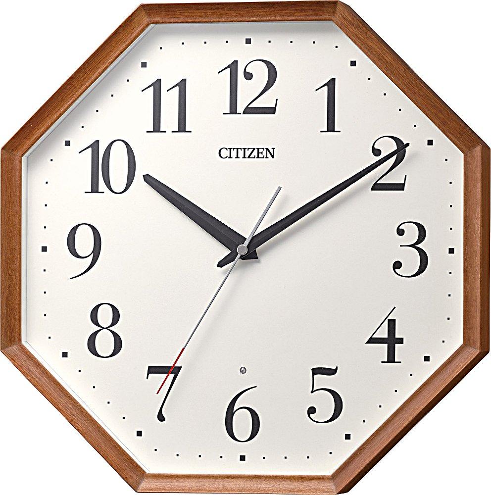 シチズン 掛け時計 電波 アナログ M529 連続秒針 おしゃれ な 八角形 木枠 茶 (半艶仕上シナ無垢材) CITIZEN 8MY529-006 B079VG7F9B