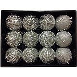 Confezione da 12 Glittery Deluxe Silver 8cm Albero di Natale Baubles - Decorazioni natalizie