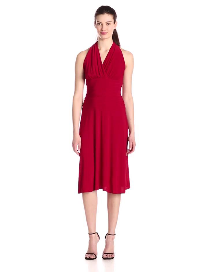 Nine West Women's Halter Ruched Waist Madelyn Dress, Heartbeat, 8