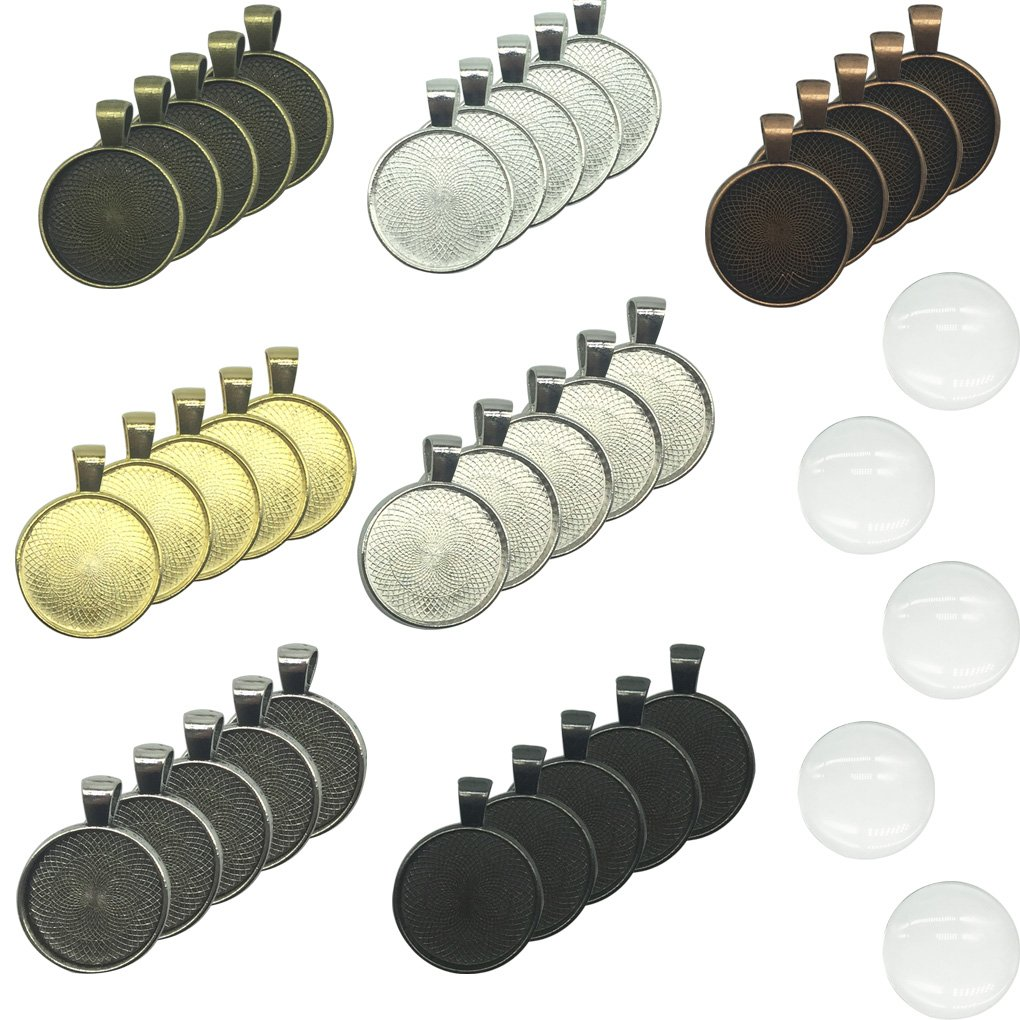 35 Pieces 7 Colors Pendant Trays Round Bezel with 35 Pieces Glass Cabochon Round Clear Dome (25mm in Diameter) HYHP