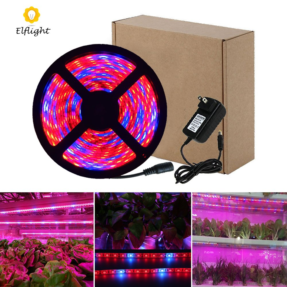 Elflight LED Plant Grow Strip Light(Power Adapter Included),5050 Waterproof Full Spectrum Red Blue 4:1 Growing Lamp Aquarium Greenhouse Hydroponic Pant Garden Flowers (3M/9.84ft)
