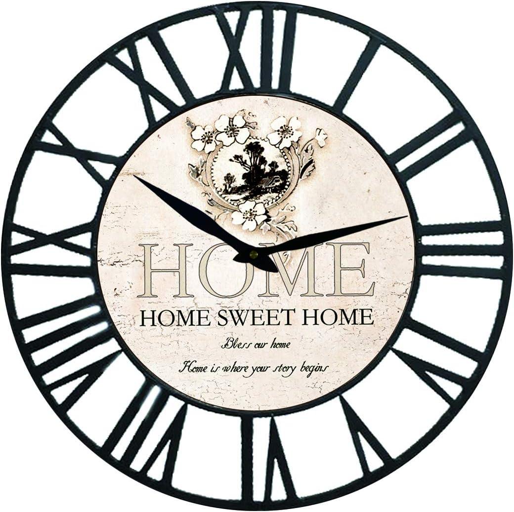 Karen R. Ortega Farm House Wall Clock with Home Sweet Design Theme and Black Iron Frame 16 inch