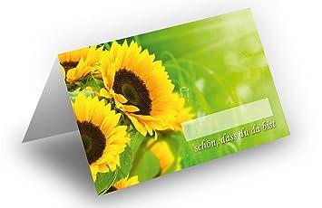25 Tischkarten Sonnenblumen Uv Lack Glanzend Fur Hochzeit