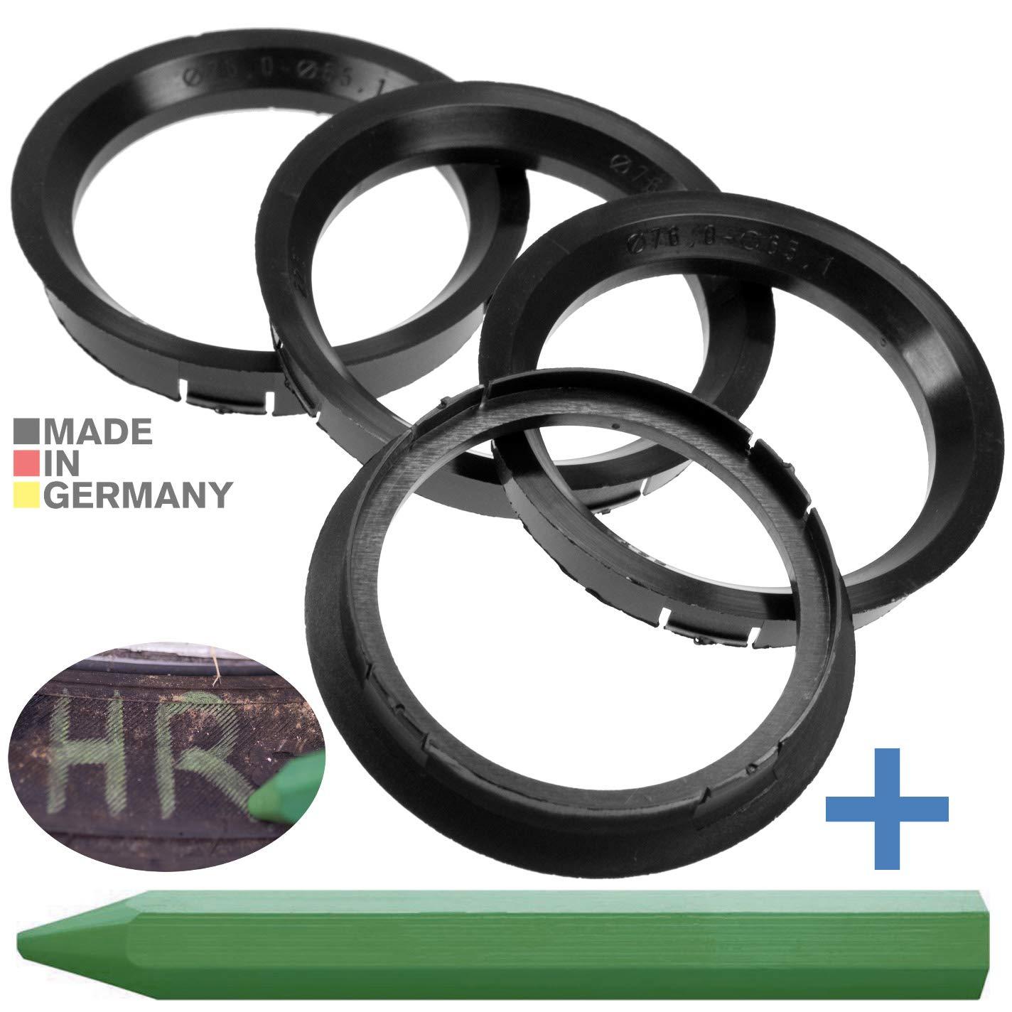 CRK 4X Zentrierringe 76,0 x 65,1 mm schwarz Felgen Ringe Made in Germany