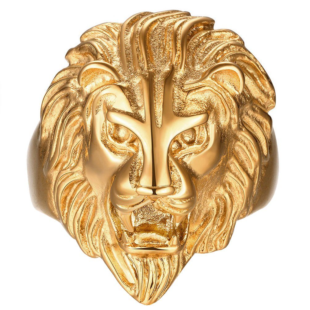 Men's Vintage 316L Stainless Steel Gold Lion Head Rings Heavy Metal Rock Punk Style Gothic Biker Ring Size 7-14 SAINTHERO HERORING413-41