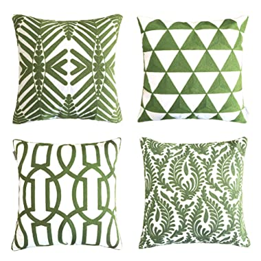 ALPHA HOME Embroidered Throw Pillow Covers Decorative Cushion Covers 18 x 18 inch, Set of 4, Army Green