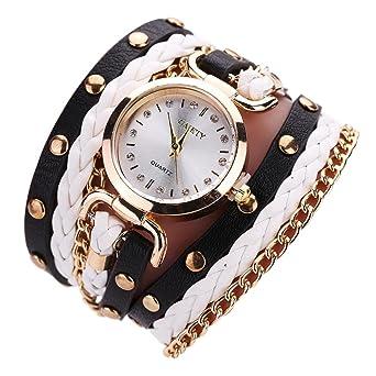 Relojes Pulsera Mujer, K-youth® Pequeño giro Rivet Cuero de la PU Tabla de brazalete Pulsera del Relojes Estilo Romano Cuarzo Reloj de Pulsera Mujeres ...