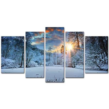 5 Pieces Modern Canvas Painting Wall Art The Picture For Home Decoration Spectacular Orange Sunset Over Winter Forest Lake Landscape Snow Print On Canvas Giclee Artwork For Wall Decor