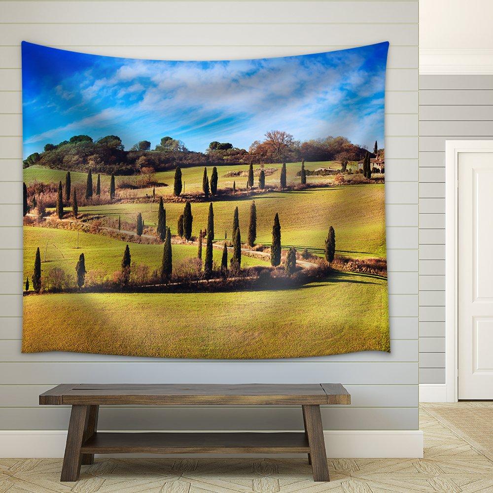 Cypress Trees Scenic Road Siena Tuscany Italy Fabric Wall - Tapestry ...