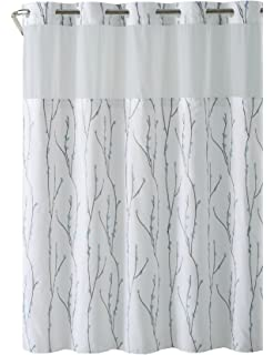 Delightful Hookless RBH40MY079 White Blue Cherry Bloom Shower Curtain With PEVA Liner