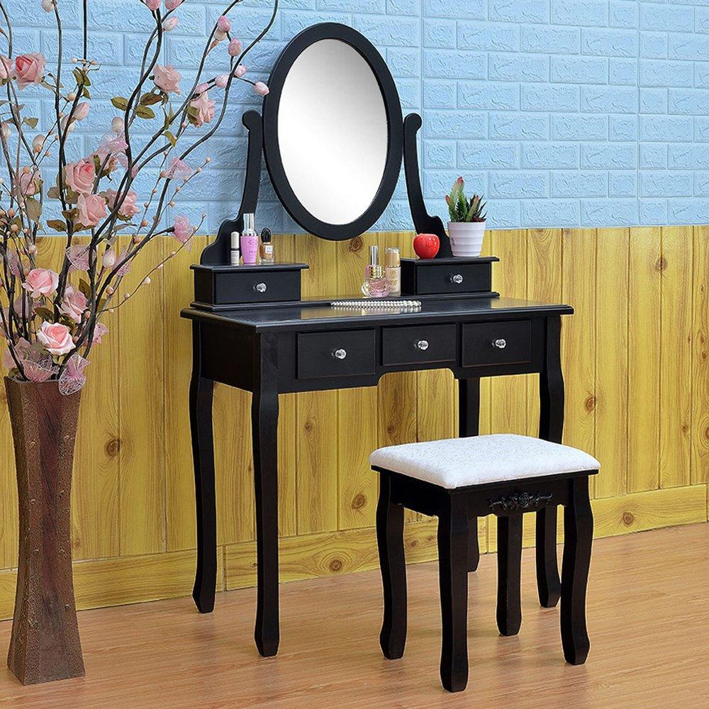 FCH Vanity Makeup Set with Mirror&Stool Dressing Table for Bedroom Bathroom (5 Drawers,Black
