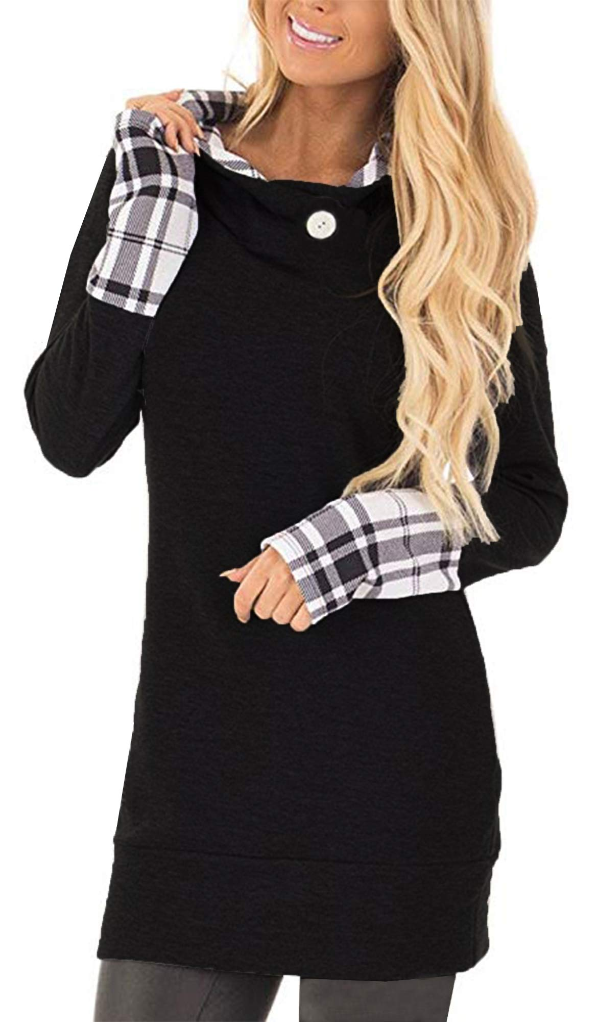 Yingkis Women's Long Sleeve Plaid Hoodies Tunic Tops Button Cowl Neck Casual Slim Blouse,Black S