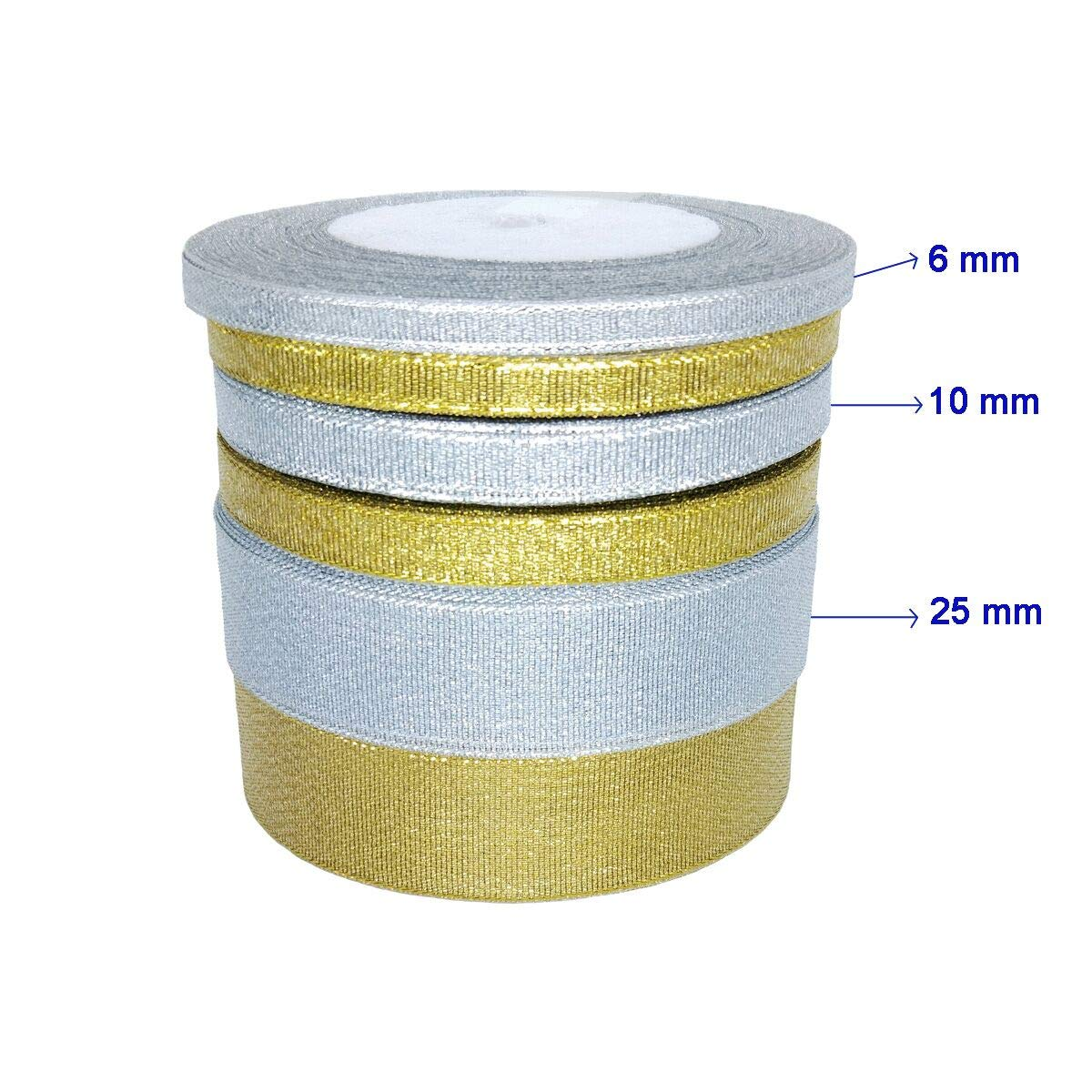 Beaulegan Glitter Ribbons - 10 mm 50 Yards Trimmings for Crafts, Gift Wrapping, Wedding Decoration (25 Yards/Roll, 2 Rolls), Silver Ribbon-gliter-10m-sil