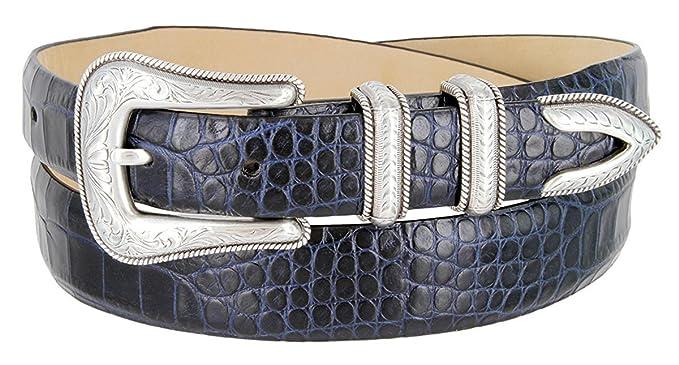 5a938c4904c4 Ceinture Homme 29mm Cuir Véritable Motif Alligator Boucle Plaquée Argent,  Alligator Marine 80