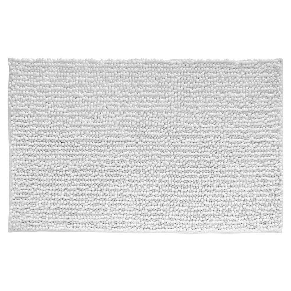 InterDesign Microfiber Frizz Bathroom Shower Accent Rug, 30 x 20, White