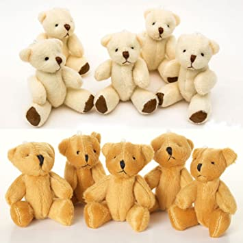 new 10 x cute and cuddly small teddy bears 5 x brown and 5 x white