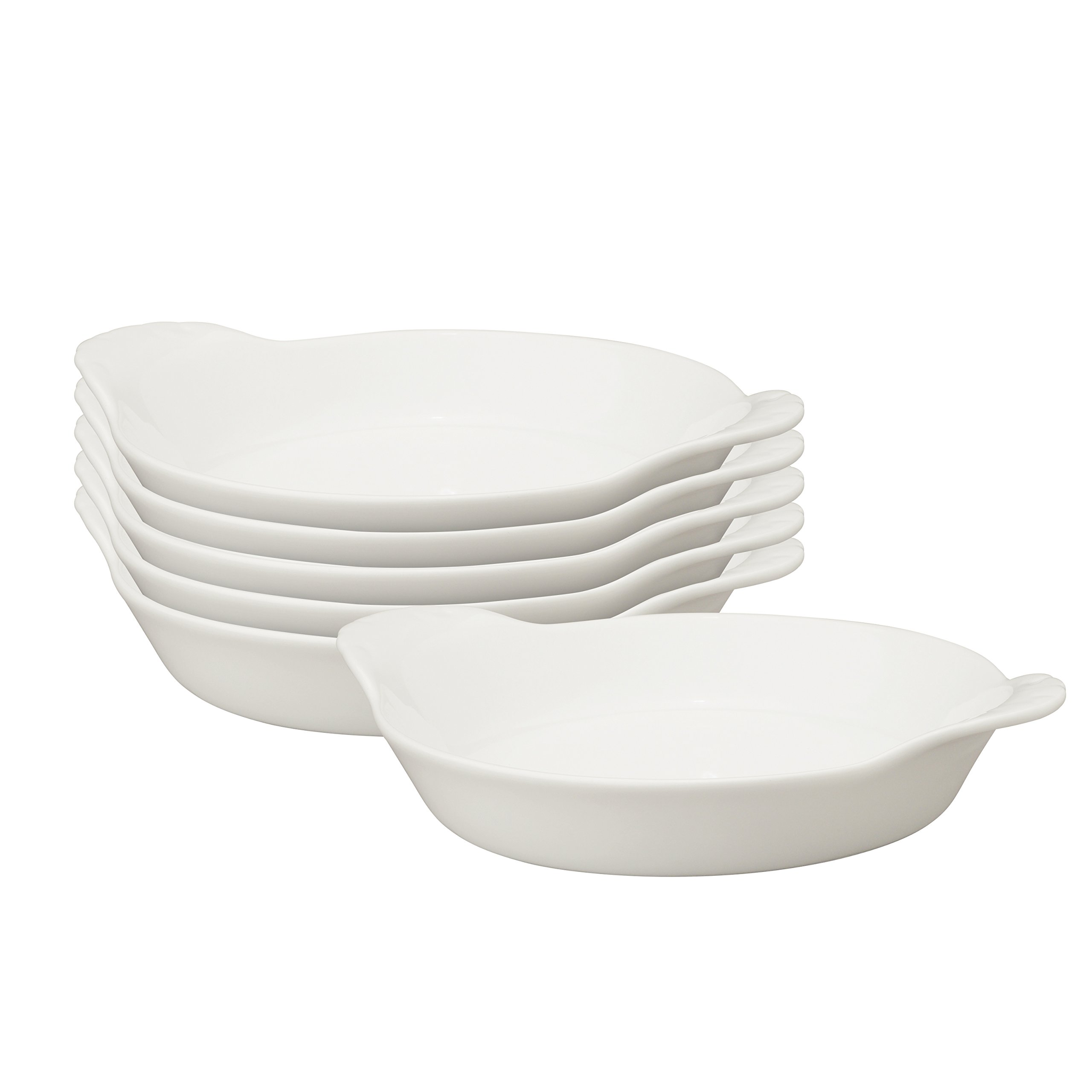HIC Round Au Gratin Baking Dishes, Porcelain, 4-Ounce, 5-Inch, Set of 6 by HIC Harold Import Co.