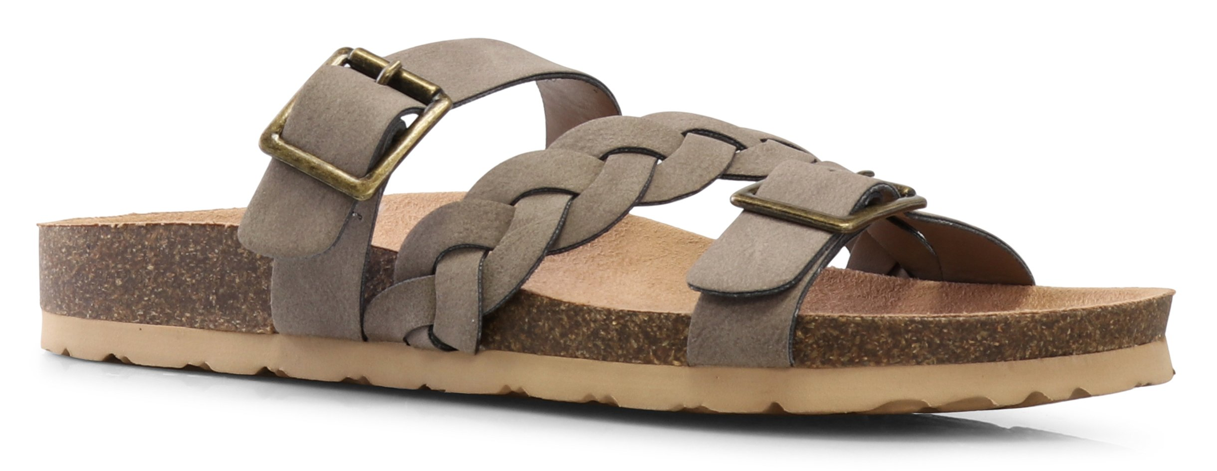 LUSTHAVE Women's Eura Slip On Braided Criss Fross Comfort Slide Buckle Flats Low Cork Platform Sandals Taupe 6