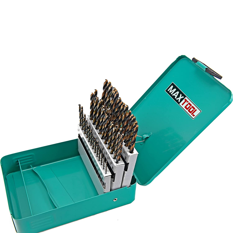 MaxTool 60pc HSS M2 Twist Drill Bit Set; 1# - #60 Wire Gauge; 135 ...