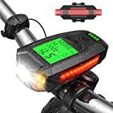 UZOPI Bike Lights Set, USB Rechargeable, Super Bright Front Headlight and Rear LED Bicycle Light, 5 Light Modes, with Speedom
