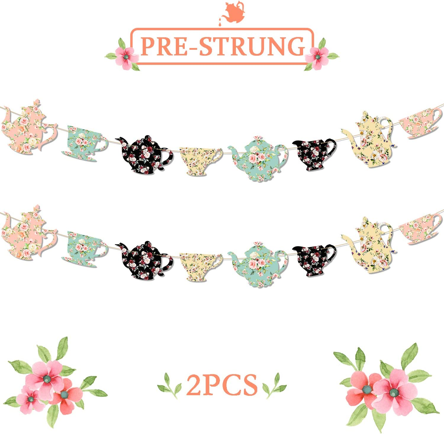 Teapots And Teacups Tea Party Banner Bridal Shower Baby Shower Girls Birthday Ideas Floral Garland Traditional English Afternoon Backyard Garden Flower Decor Totally 9Ft Long-NO DIY Required