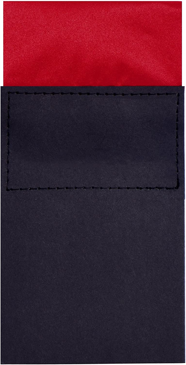 DonDon mens breast pocket handkerchief pre-folded square with cardboard adjustable