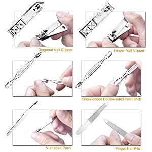 Manicure Pedicure Set Nail Clippers - 18 Piece Stainless Steel Manicure Kit, Professional Grooming Kit, Nail Tools with Luxurious Travel Case (Color: Black)