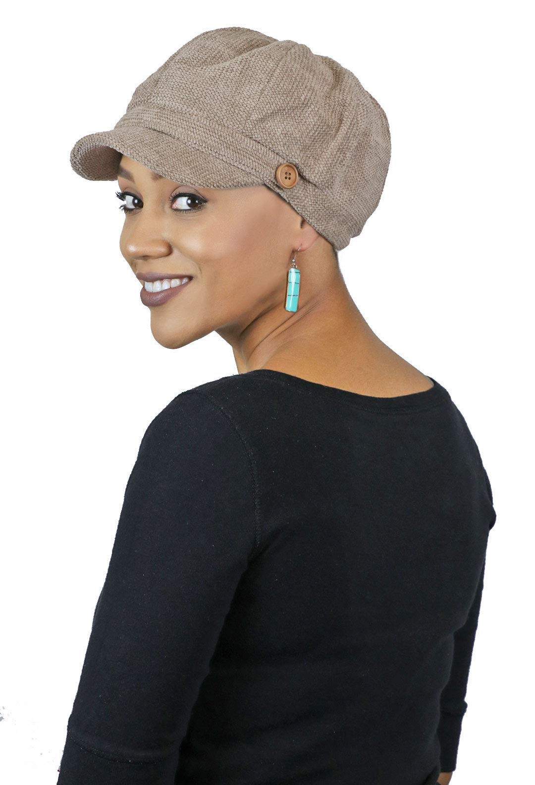 Newsboy Cap for Women Cancer Headwear Chemo Hat Ladies Head Coverings Tweed Corduroy (Taupe)
