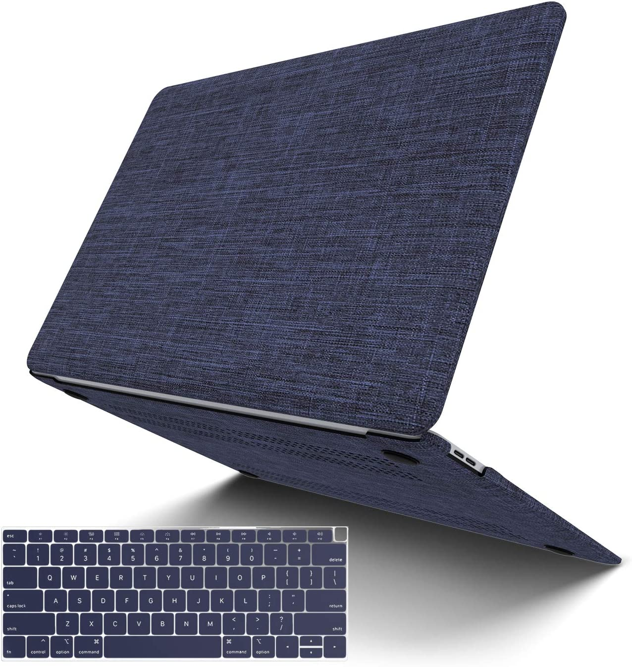 MacBook Pro 15 Inch Case 2019 2018 2017 2016 Release A1990 A1707, JGOO Soft Touch Fabric Hard Shell Cover Case with Keyboard Cover for Apple MacBook Pro 15 with Touch Bar, Blue