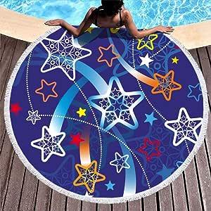 Shinelly Estrellas de Playa, Esterilla de Yoga, Mandala Indio, Redonda, algodón, Mantel, Toalla de Playa, Esterilla Redonda de Yoga, Bufanda, 59 en la Playa, Tiempo Libre, Estrellas, 150 cm: Amazon.es: Hogar