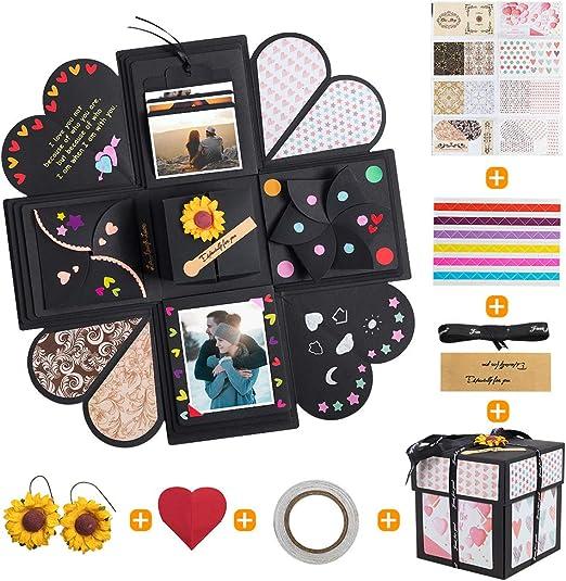 Caja de Regalo Creative Scrapbook Album de Fotos, Explosion Box Memory DIY Photo Album con 4 Caras para San Valentín Boda Cumpleaños Aniversario Navidad Día de la Madre: Amazon.es: Hogar