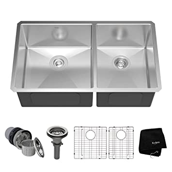 kraus khu103 33 33 inch undermount 60 40 double bowl 16 gauge stainless steel kraus khu103 33 33 inch undermount 60 40 double bowl 16 gauge      rh   amazon com