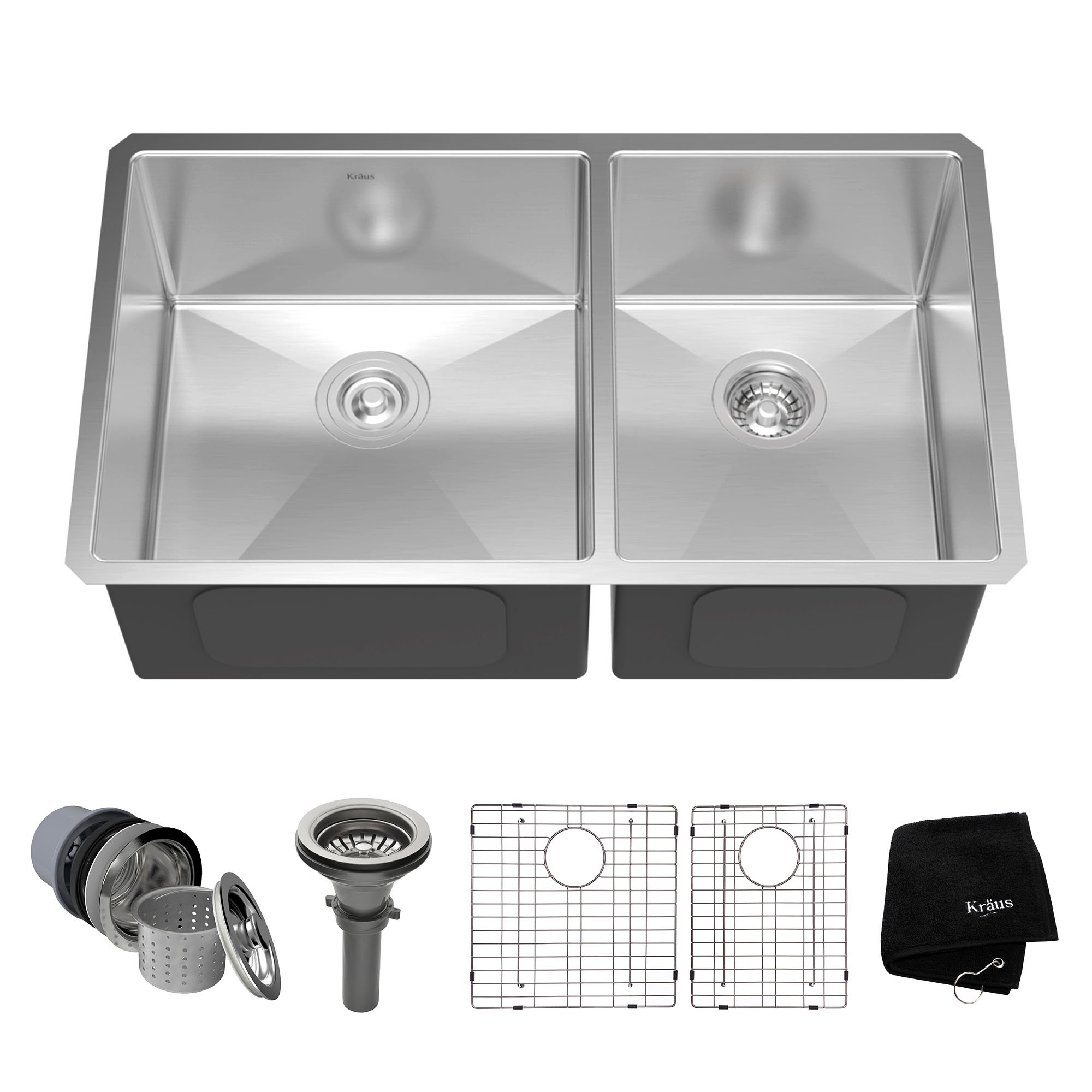 Kraus KHU103-33 33 inch Undermount 60/40 Double Bowl 16 gauge Stainless Steel Kitchen Sink by Kraus