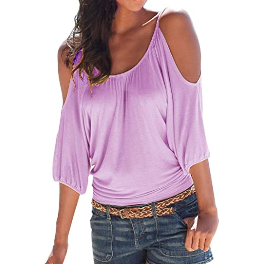 Limsea 2019 Women s Casual Loose Hollowed Out Shoulder Three Quarter Sleeve  Shirts Purple 97be1877a