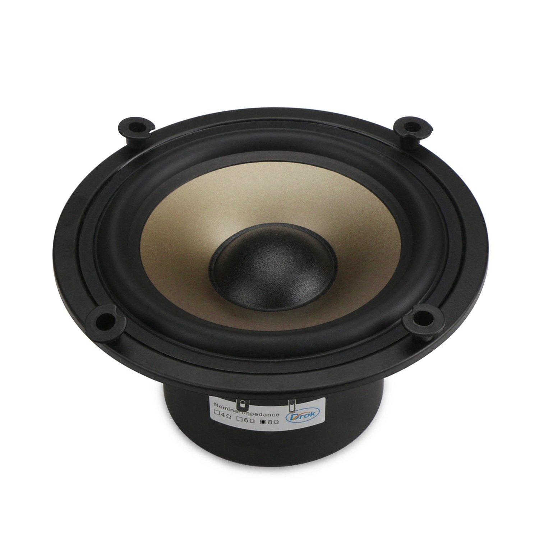 DROK 8 Ohms Hifi Loundspeaker 50W Low-frequency Woofer, 6.5'' Champagne Megabass Speaker for Subwoofer, Dual Magnetic Audio Speakers, DIY Speakers for Bass Amp Loud Speaker Home Audio System