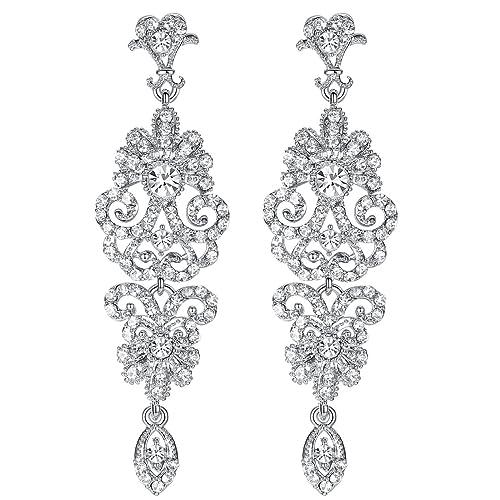 Silver Vintage Style Wedding Crystal Rhinestone Cluster Chandelier Hollow Dangle  Earrings e53ec55d220b