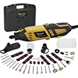 Ginour Rotary Tool Kit, Universal Keyless Chuck and Flex shaft, 7 Variable Speed, 111 Accessories 4 Attachments Multi-functional rotary tool for Crafting Projects and DIY Creations