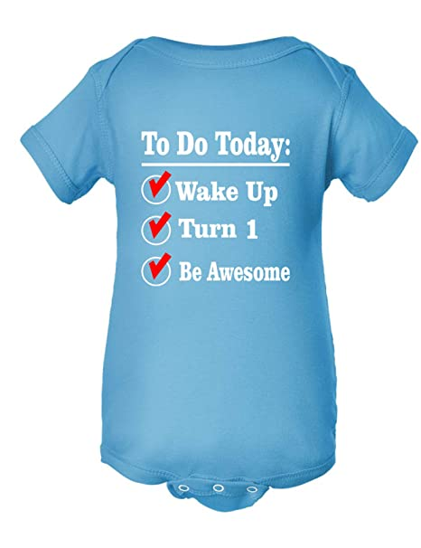 Amazon Allntrends Baby Onesie To Do Today Turn 1 Be Awesome 1st Birthday Gift Bodysuit Clothing