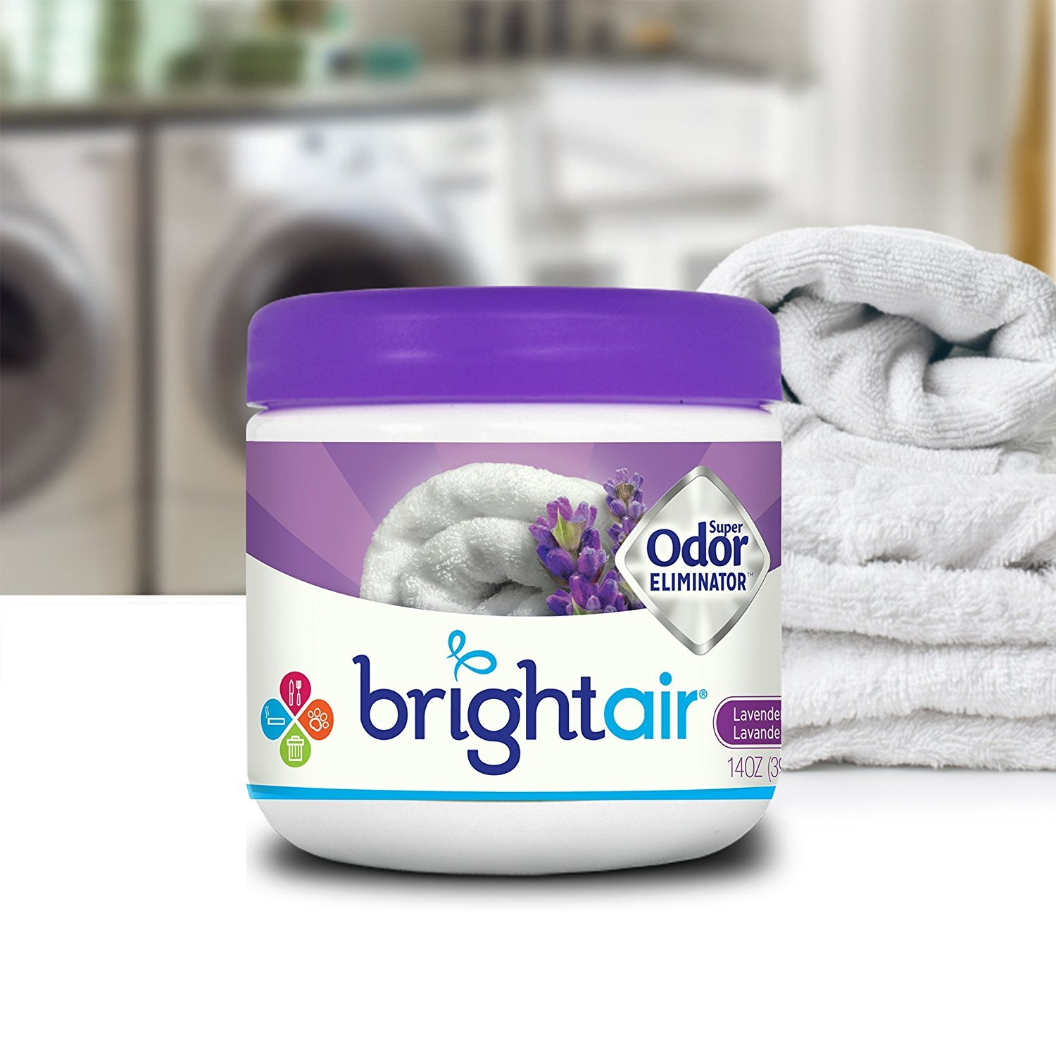 Bright Air Solid Air Freshener and Odor Eliminator, Lavender and Linen Scent, 14 Ounces, 6 Pack by Bright Air (Image #3)