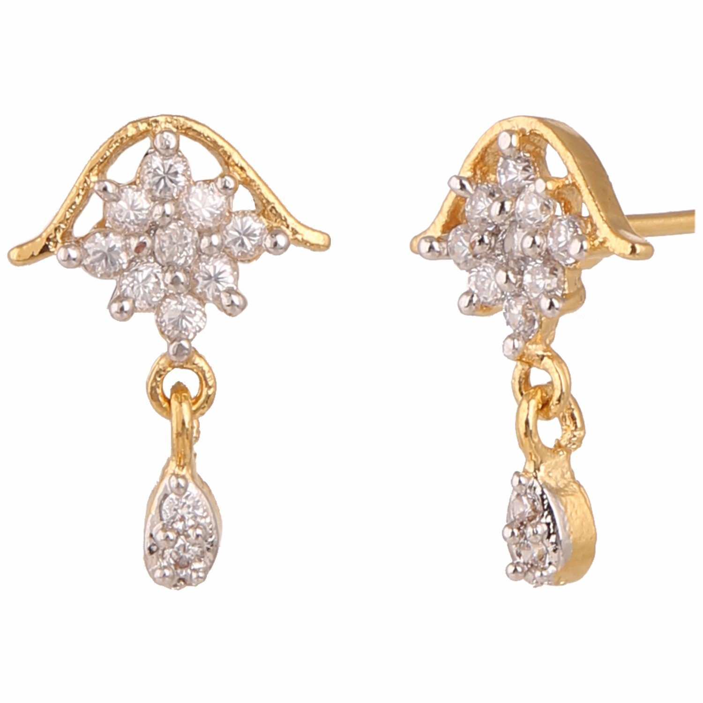 Efulgenz Stud Earrings 14 K Gold Plated Hypoallergenic Cubic Zirconia Square Pearl Drop Studs Pierced