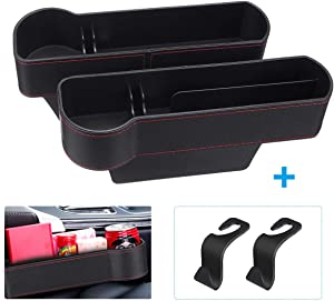CHARMINER Car Seat Filler, PU Leather Car Seat Organizer with Cup Holder, Seat Console Side Pocket for Cellphones, Keys, Cards, Wallets, Sunglasses, etc. (2 Pack) …