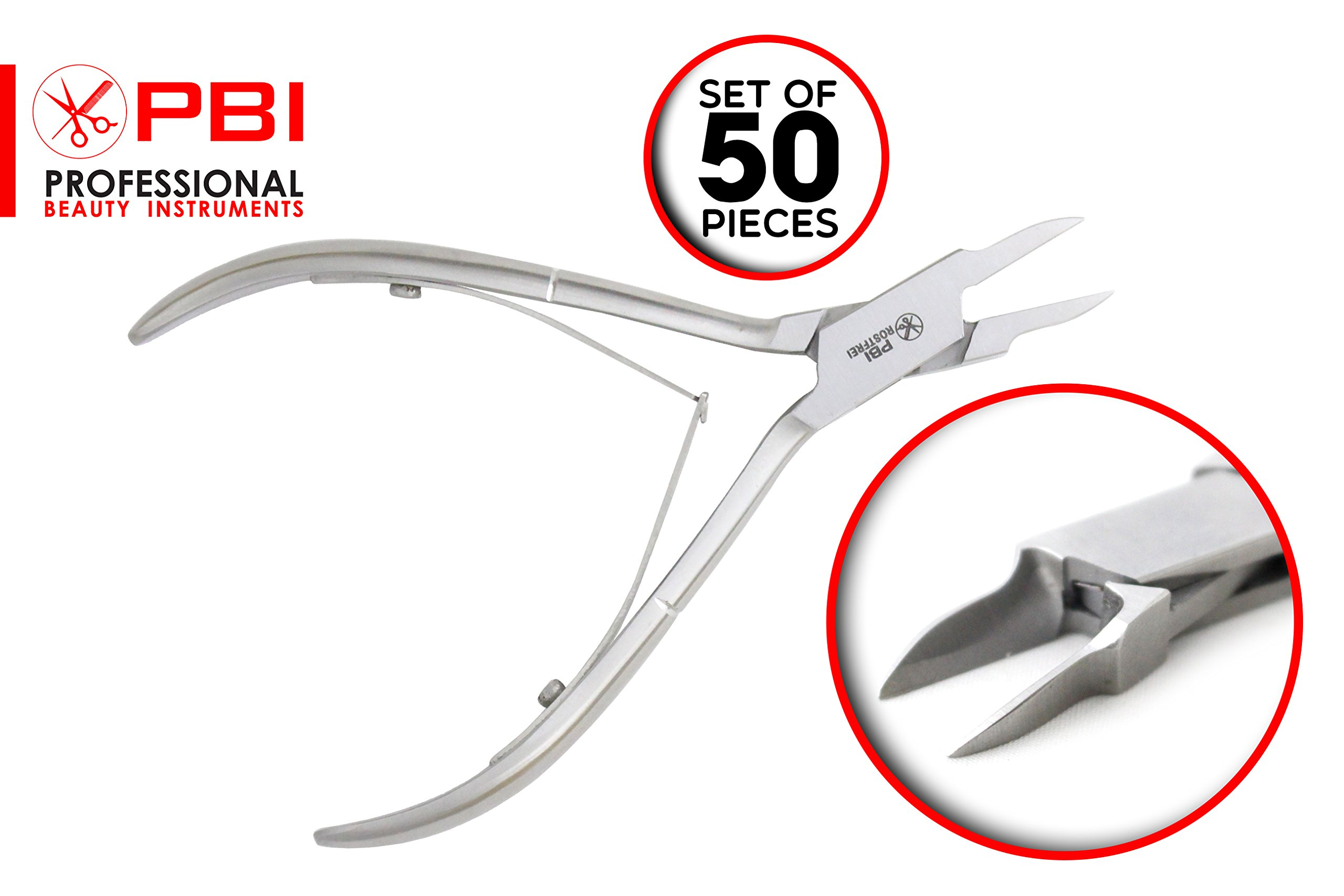 Nail nipper - Nail plier - Manicure Pedicure Nail nipper for ingrown nails - 12.5 cm - 50 pieces set - Stainless Steel from PBI