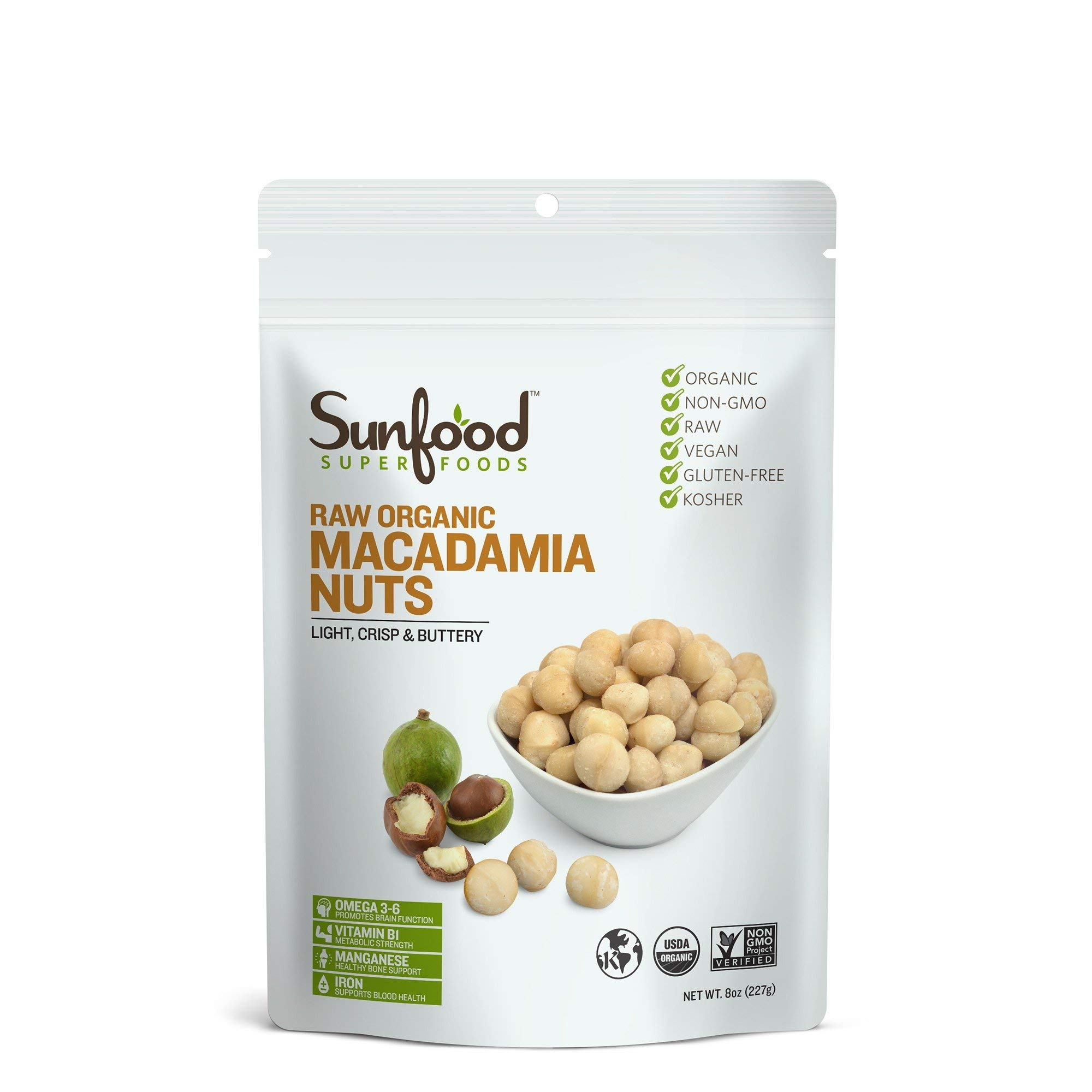Sunfood Superfoods Macadamia Nuts- Raw Organic. 8 oz Bag by Sunfood Superfoods