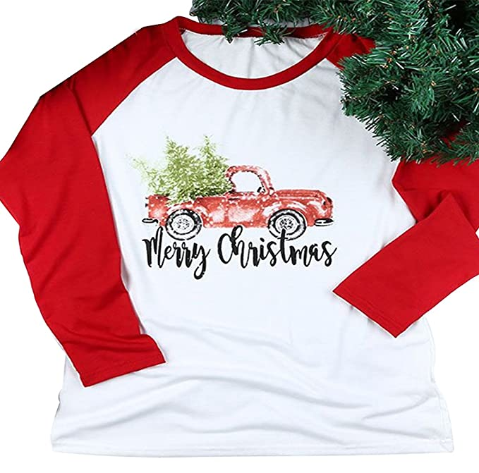 Merry Christmas Letter T.Egelexy Women S Merry Christmas Letters Tree Truck Print Stripe Long Sleeve T Shirt