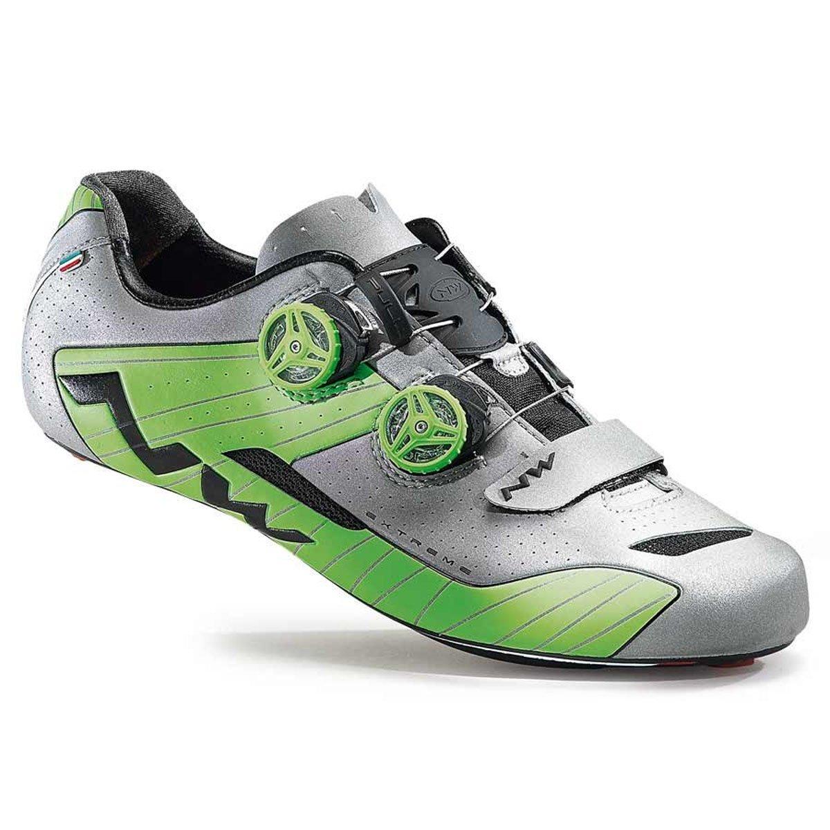 Northwave Extreme Road靴シルバー/ green- 44.5   B013FIQQCY